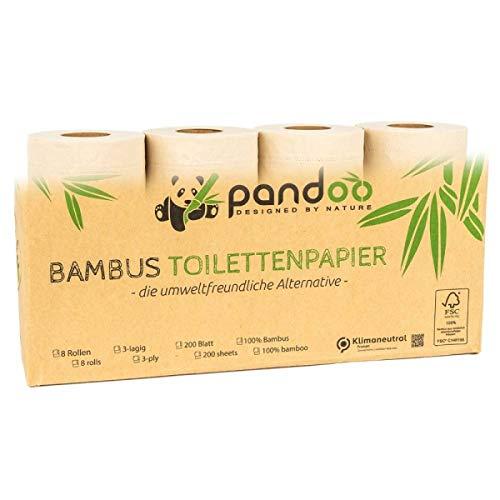 Toilettenpapier aus 100% Bambus (8 Rollen á 200 Blatt) pandoo Inhalt 8 Rollen