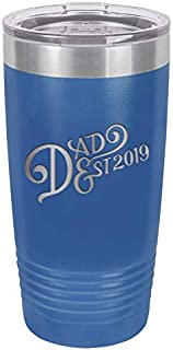 New Dad Gift Ideas   First Time Dad Est. 2019 Blue 20 oz Stainless Steel Tumbler w/Lid   Daddy w/Newborn   Dads to be Present   Expecting Father Presents   First Fathers Day Gift from Daughter Son