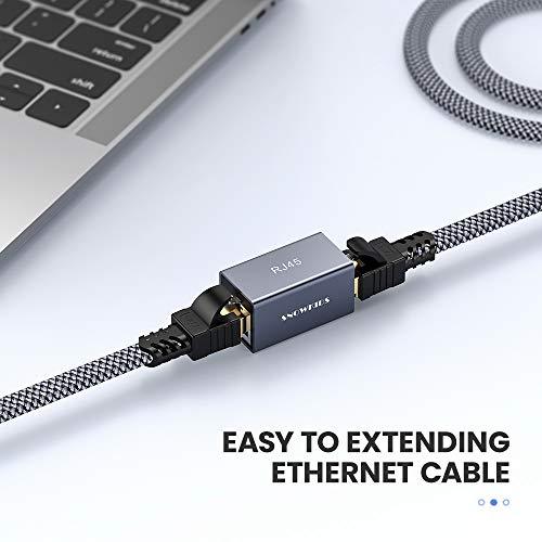 Netzwerk Verbinder RJ45, Snowkids Lan Kupplung Ethernet Koppler Verbinder Lan Adapter für Lan Kabel, Ethernet Kabel, Netzwerkkabel, Patchkabel, RJ45 Coupler für Cat7, Cat8, Cat6, Cat5e, 5 Stücke