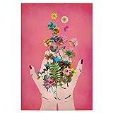artboxONE Poster 30x20 cm Floral Frida's Hands (pink)