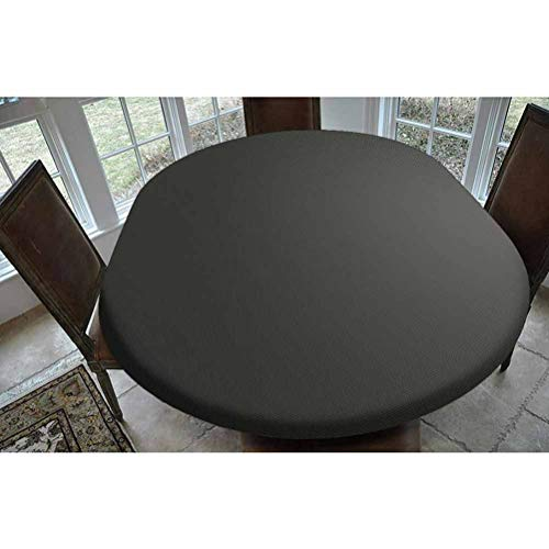 SoSung Grey Polyester Fitted Tablecloth,Digital Creation of a Leather Texture Abstract Dark Colored Background Classical Print Oblong Elastic Edge Fitted Table Cover,Fits Oval Tables 68x48 Grey White
