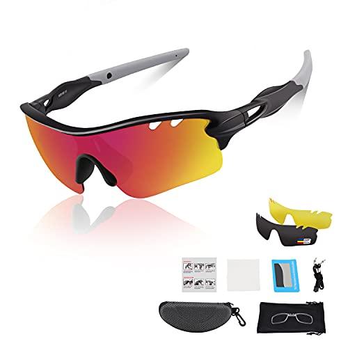 DUDUKING Gafas Sol Polarizadas Niño Adolescente Gafas de Sol Deportivas UV 400 Protección Gafas con 3 Rodajas De Lentes Intercambiables para Ciclismo Correr Golf Beisbol Surf Conducción Esquiando ✅