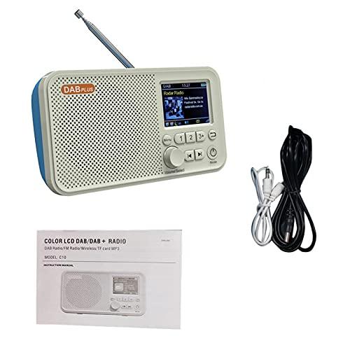 POHOVE Radio digital de Internet todo en uno con DAB portátil DAB/DAB+/FM Radio digital con Bluetooth, tono y alarma de radio, pantalla a color de 2.4 pulgadas, cable de audio AUX