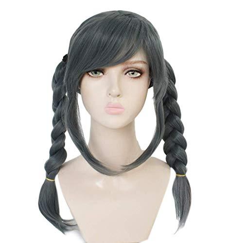 PWEINCY Peko Pekoyama Cosplay Wig, Two Braids Dark Gray Synthetic Hair Halloween Party