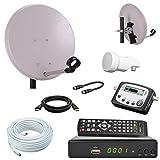 netshop 25 Digital Camping SAT Anlage 40 cm Spiegel + HD Sat Receiver + Digitaler SAT Finder + HD Single LNB + 10m Kabel