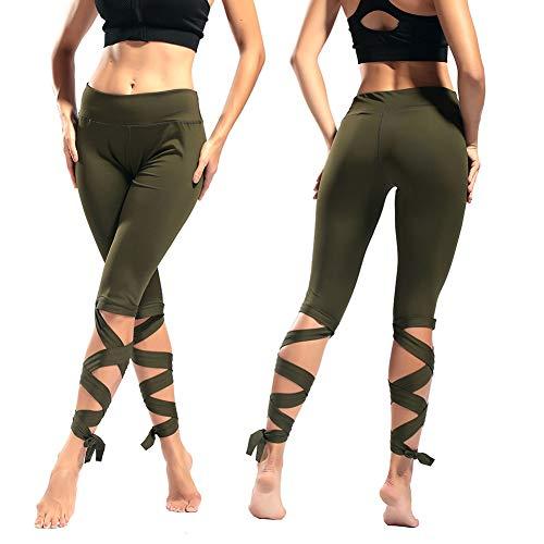 Sports Yoga Pants Wrap Slim Slim Cropped Pants Skinny Stretch Dance Ballet Bandage Fitness Pants,Green,L