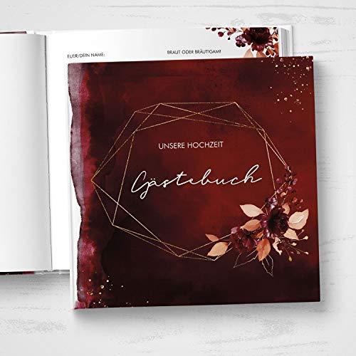 Hardcover Gästebuch mit Fragen & Einleitungstext | Quadratisch 104 Seiten