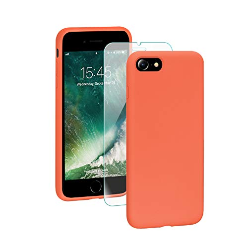 SmartDevil Funda Adecuada para iPhone SE 2020/8/7 +Protector de Pantalla, [Totalmente Protectora] Funda de Gel de Silicona líquida Funda,Microfibra Suave Cojín para iPhone SE 2020/8/7-Naranja