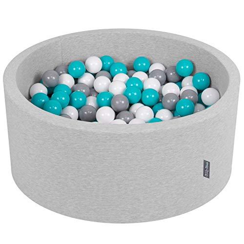 KiddyMoon 90X40cm/300 Balles ∅ 7Cm Piscine À Balles pour Bébé Rond Fabriqué en UE, Gris Clair:Gris/Blanc/Turquoise