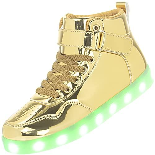 APTESOL Kinder LED Schuhe High-Top Licht Blinkt Sneaker USB Aufladen Shoes für Jungen und Mädchen [Spiegel Gold,37]