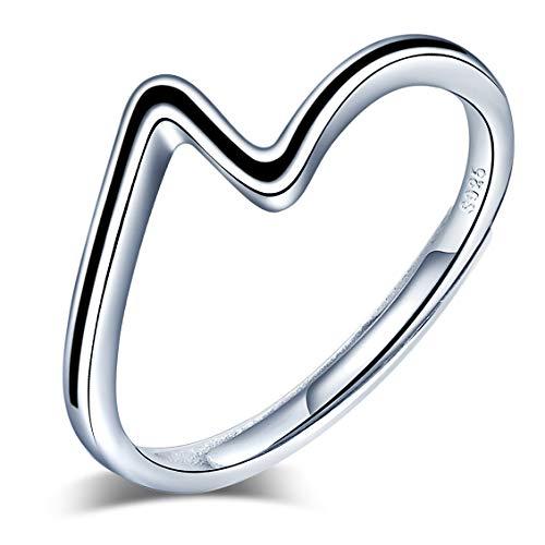 Yumilok Anillo de plata de ley 925 para mujer, anillo abierto en forma de Z, tamaño simple, ajustable, regalo de cumpleaños de Navidad, tamaño adecuado: 49-57