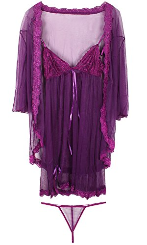 Leegoal Lace Sexy Lingerie Three-Piece Jacket+Babydoll+G String Color Purple One Size
