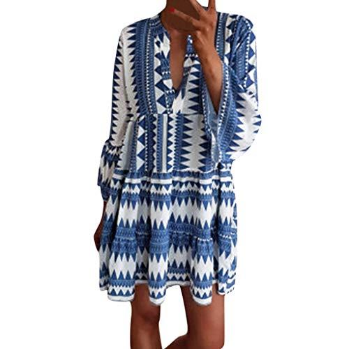 GreatestPAK Damen V-Ausschnitt Sommerkleid Lässig Böhmen Floral Bedruckt Vintage Kleid,Blau,S