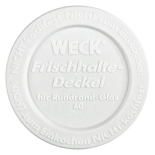 Weck Frischhaltedeckel aus Kunststoff - Ø 60 mm - weiß - 5 Stück