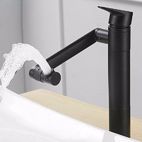 HQLCX Robinets de lavabo Seul Trou Noir Sexy Et Bassin Chaud Robinet en Cuivre Wash Lave - Mains Piscine Robinet Peut Tourner,Haut De l'argent