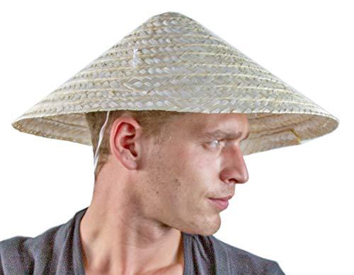 24costumes Chinesischer Hut | traditioneller Strohhut / Bambushut asiatischer Reisbauer | authentisch wie aus China oder Vietnam als Sonnenschutz | ideal für Karneval & Fasching