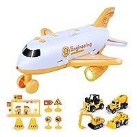 貨物機カープレイセット、輸送機と車のおもちゃセット教育用車両消防飛行機パトカープレイおもちゃセット、3歳以上の男の子と女の子に適しています