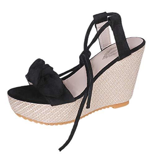 Mujeres Punta Abierta Arco Transpirable Sandalias de Playa Roma con Cordones cuñas Casuales Zapatos
