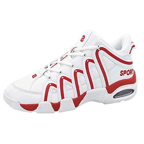 AIni Herren Unisex Schuhe,2019 Neuer Heißer Beiläufiges Mode Unisex Lace Up Mischfarben Casual Platform Sneakers Sportschuhe Partyschuhe Freizeitschuhe(44,Rot)