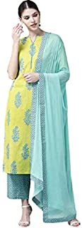 Vastranikhar Women Lime Green & Blue Printed Kurta with Palazzos & Dupatta