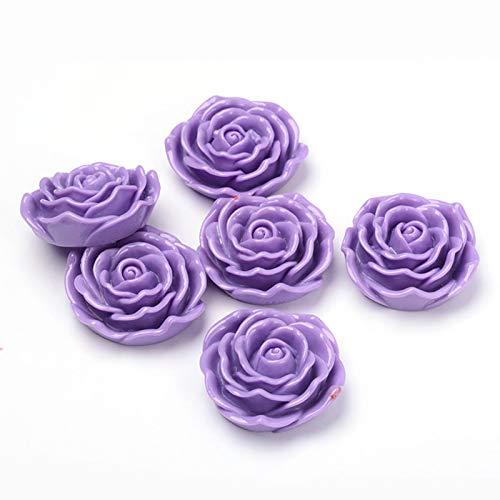 Craftdady 50 cuentas grandes de resina con diseño de rosas espaciadoras de flores de cabujón y limo de cabujón para collares, pulseras, joyas, álbumes de recortes, 45 x 18 mm, agujero de 1,5 mm