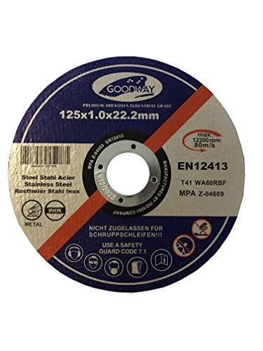Dischi da taglio professionali, 10 pezzi, diametro 125 mm, spessore 1,0 mm, per smerigliatrice flessibile, da taglio e angolare, in acciaio inox, dischi da taglio flessibili