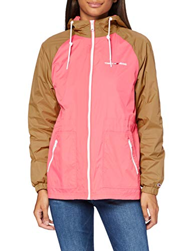 Tommy Jeans Tjw Colorblock Parka Chaqueta, Verde (Country Khaki/Glamour Pink), M para Mujer