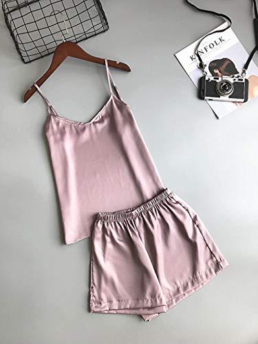 JFCDB Zomer pyjama,Effen kleur Dames Pyjama Hemd Pyjama Set Dames Zomer Vest Shorts Pak, roze paars, L