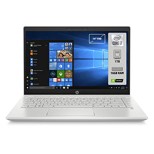 "HP-PC Pavilion 14-ce3035nl Notebook, Intel Core i7-1065G7, RAM 16 GB, SSD 1 TB, Nvidia GeForce MX250 4 GB, Windows 10 Home, Schermo 14"" FHD Antiriflesso, Lettore Micro SD, USB-C, HDMI, Webcam, Argento"