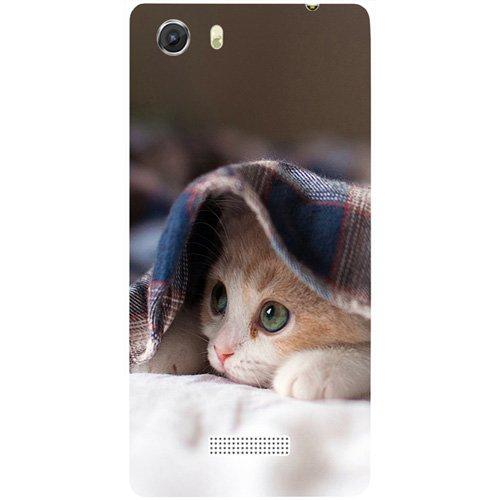 Casotec Sleepy Kitten Design Hard Back Case Cover for Micromax Canvas Unite 3 Q372