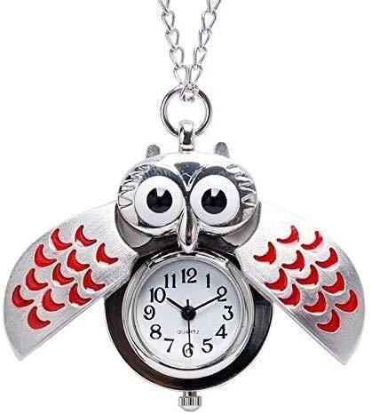 YYhkeby La Creatividad Linda Forma de búho Cadena Diseño Colgante de Cuarzo Reloj de Bolsillo con el Collar del Reloj de Bolsillo Mejor Regalo for Niños Niñas Jialele