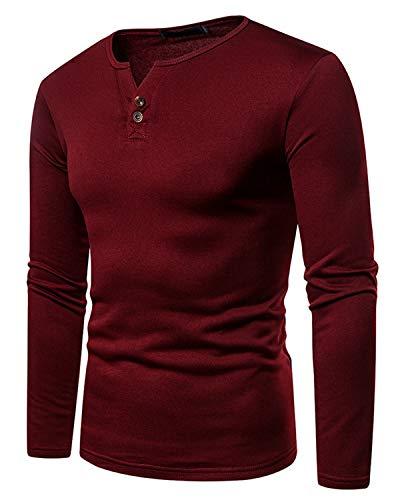 JOLIME Camisa Henley de manga larga para hombre con forro polar y cuello en V y puños con botones