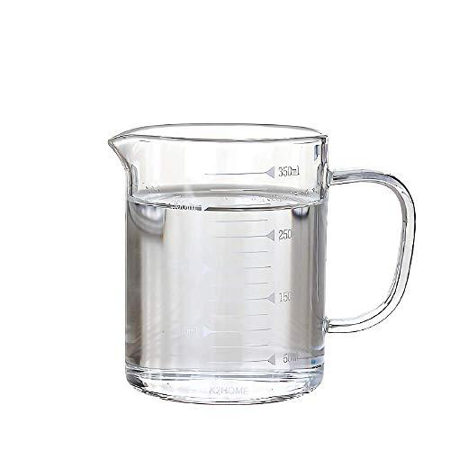 Jarra Medidora de Vidrio Transparente Resistente al Calor para Microondas Cocinar Hornear Tazas Graduadas Medidas Precisas (350ml)