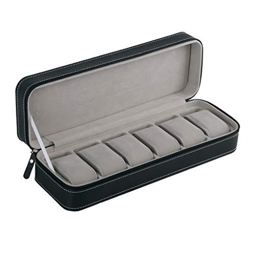 WANMEI Caja de reloj portátil con 6 ranuras para viajes, con cremallera, para coleccionista, almacenamiento de joyas