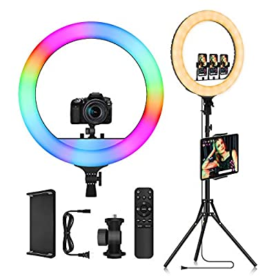 """18"""" RGB LED Ring Light with Tripod Stand & iPad Phone Holder - Voice Control Music Sync Color Changing Selfie Circle Lights for Home Party Makeup Camera Photography Lighting YouTube Video Recording by DOLED"""