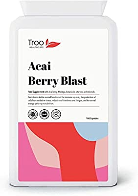Acai Berry Blast 1540mg 100 Capsules - Powerful Anti-oxidant Formula Combining 1065mg of Acai with Resveratrol, Grapeseed Extract & Pomegrante for the Ultimate Acai Health Support, Cleansing & Weight Loss Supplement