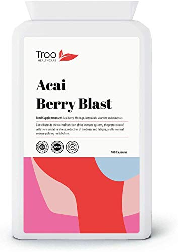 Acai Berry Blast Supplement - 100 Capsules | Moringa | Zinc | Beetroot | Pomegranate | Resveratrol | Grape Seed Extract | Biotin | Vitamin B6 | UK Manufactured to GMP Standards