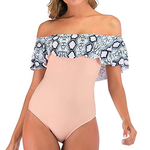 Traje de Baño Bandeau Volante de Una Pieza Bañadores Mujer con Estampado Monokini con Correas Retirable Ropa de Baño Atractivo y Elegante Ropa de Playa Casual Verano