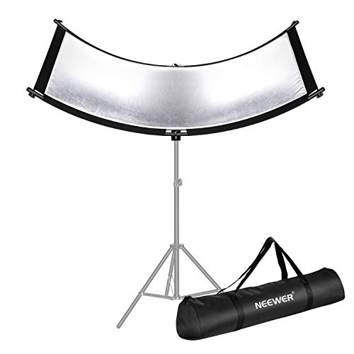 Neewer Clamshell Light Reflector/Diffuser for Studio and Photography with Carry Bag 66x24 Inch Arclight Curved Eyelighter Lighting Reflector Black/White/Gold/Silver Light Stand Not Included