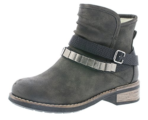Rieker Damen Biker Boots 94671,Frauen Stiefel,Stiefelette,Halbstiefel,Bikerstiefelette,Bootie,Nieten,Blockabsatz 3.5cm,anthrazit/schwarz, EU 38