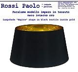 Paralume coprilampada impero d25 in tessuto nero interno oro - produzione propria - made in Italy