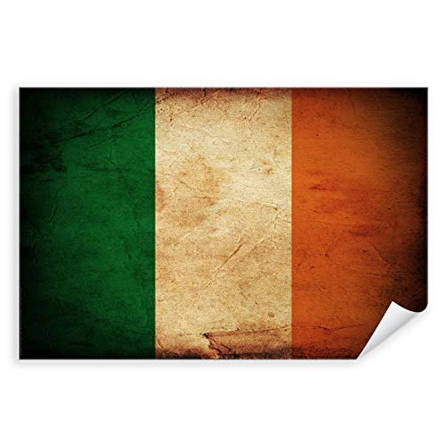 Postereck - 0305 - Vintage Flagge, Fahne Irland Dublin - Unterricht Klassenzimmer Schule Wandposter Fotoposter Bilder Wandbild Wandbilder - Poster - DIN A4-21,0 cm x 29,7 cm