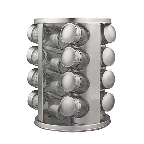 Support à épices pour Tiroir, Support à épices Rotatif, Boîte D'assaisonnement Verticale en Verre Bocal à Vinaigre Créatif Résistant avec Couvercle étagère D'embouteillage Multifonctionnelle Combinée