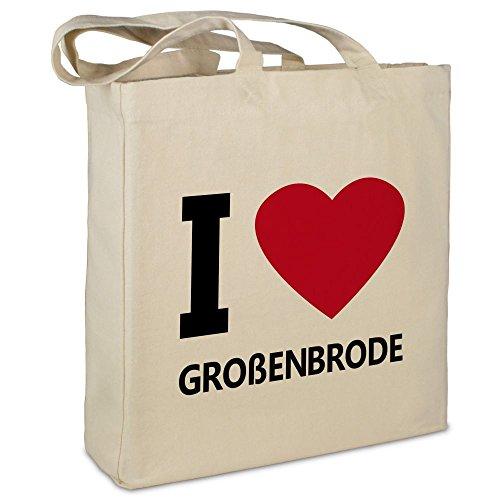 Stofftasche mit Stadt/Ort Großenbrode - Motiv I Love - Farbe beige - Stoffbeutel, Jutebeutel, Einkaufstasche, Beutel