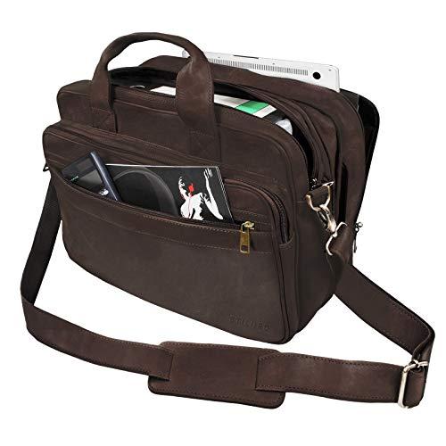 STILORD \'Leopold\' Umhängetasche Herren Ledertasche Aktentasche Schultertasche Lehrertasche Notebooktasche Laptoptasche Unitasche Collegetasche echtes Büffel-Leder, Farbe:matt - Dunkelbraun
