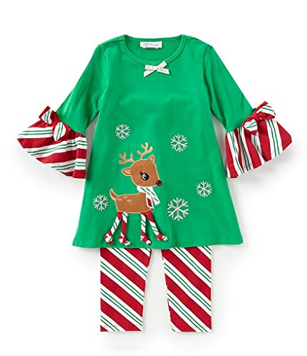 Bonnie Jean 2T - 4T Toddler Girls Rudough Red Nose Reindeer Snowflake Dress Leggings Set, 4T