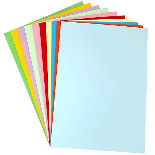 Cartulina de colores, cartulina pastel, 120 g/m², 100 hojas de papel pastel A4 para origami hecho a mano (10 colores, 10 hojas para cada color)