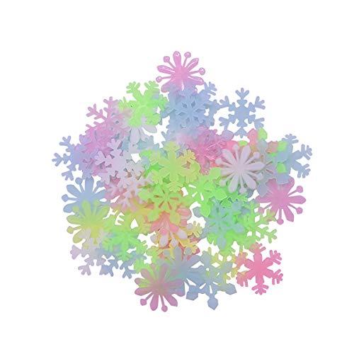 Queenbox 50PCS 1'Glow In The Dark 3D Sbowflake Wanddeckenaufkleber, fluoreszierende selbstklebende Art Luminous Wallpapers für Baby Kid Room Weihnachten, mehrfarbig