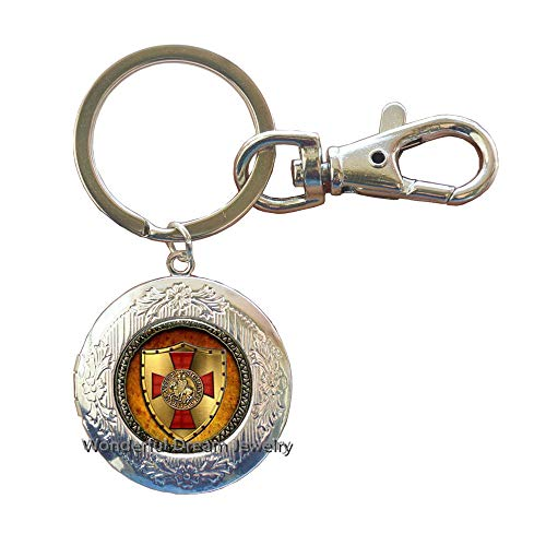 The Knights Templar Key Ring Jewelry Glass Cabochon Locket Keychain,PU241 (Silver)