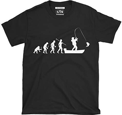 6TN evolución del Hombre a Barco Pesca Camiseta de Manga Corta - Negro, Large